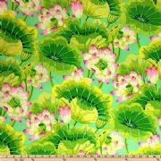 Kaffe Fassett Lake Blossoms Green - Per Quarter Metre